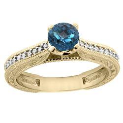 0.71 CTW London Blue Topaz & Diamond Ring 14K Yellow Gold - REF-53H3M