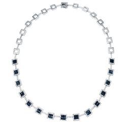 Natural 8.92 CTW Sapphire & Diamond Necklace 14K White Gold - REF-409R5K