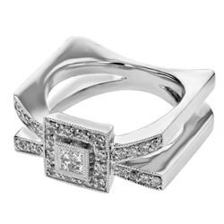 Natural 0.40 CTW Diamond & Princess Diamond Ring 14K White Gold - REF-109H8W