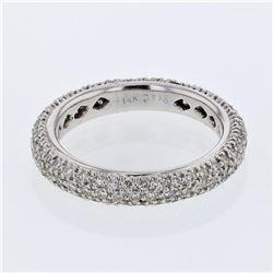 Natural 1.16 CTW Diamond Band Ring 14K White Gold - REF-126H9W