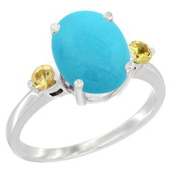 2.64 CTW Turquoise & Yellow Sapphire Ring 14K White Gold - REF-38W2F