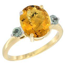 2.64 CTW Quartz & Green Sapphire Ring 14K Yellow Gold - REF-31K4W