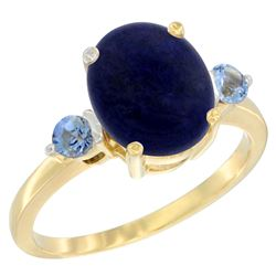 2.74 CTW Lapis Lazuli & Blue Sapphire Ring 10K Yellow Gold - REF-22H5M