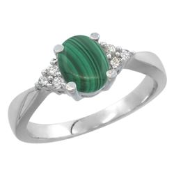 0.81 CTW Malachite & Diamond Ring 14K White Gold - REF-64N9Y