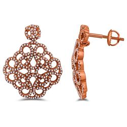 Natural 0.60 CTW Diamond Earrings 14K Rose Gold - REF-76Y5N