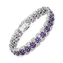 Natural 9.94 CTW Amethyst & Diamond Bracelet 14K White Gold - REF-262H8W