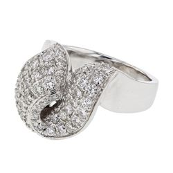 Natural 1.34 CTW Diamond Ring 14K White Gold - REF-216X2T