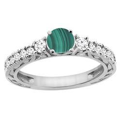 2.53 CTW Malachite & Diamond Ring 14K White Gold - REF-79R2H