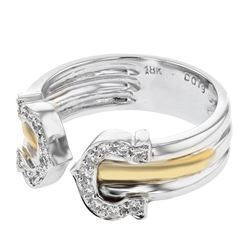 Natural 0.19 CTW Diamond Ring 18K Two Tone Gold - REF-88H2W