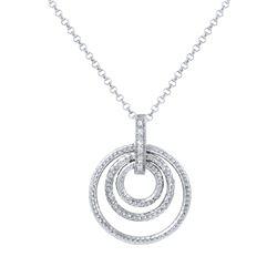 Natural 0.05 CTW Diamond Necklace 14K White Gold - REF-36X9T