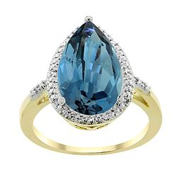 5.55 CTW London Blue Topaz & Diamond Ring 10K Yellow Gold - REF-37X4M