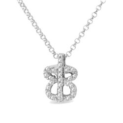 Natural 0.11 CTW Diamond Necklace 14K White Gold - REF-24H3W