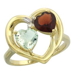2.61 CTW Diamond, Amethyst & Garnet Ring 14K Yellow Gold - REF-33V9R