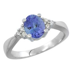 0.83 CTW Tanzanite & Diamond Ring 14K White Gold - REF-43K2W