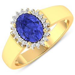 Natural 2.4 CTW Tanzanite & Diamond Ring 14K Yellow Gold - REF-50T6H