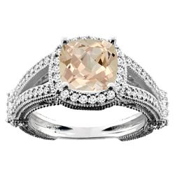 2.27 CTW Morganite & Diamond Ring 14K White Gold - REF-60M9K