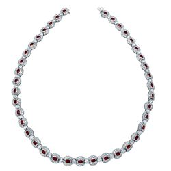 Natural 17.76 CTW Ruby & Diamond Necklace 14K White Gold - REF-951M3F