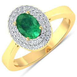 Natural 0.78 CTW Zambian Emerald & Diamond Ring 14K Yellow Gold - REF-37F9N