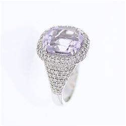 Natural 6.74 CTW Amethyst & Diamond Ring 18K White Gold - REF-138X6T