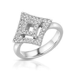 Natural 0.47 CTW Diamond Ring 18K White Gold - REF-111M6F