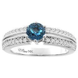 1.30 CTW London Blue Topaz & Diamond Ring 14K White Gold - REF-67M3K