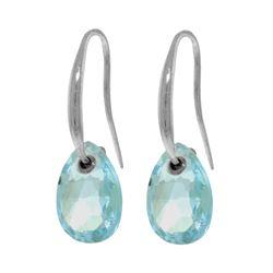 Genuine 8 ctw Blue Topaz Earrings 14KT White Gold - REF-36K8V