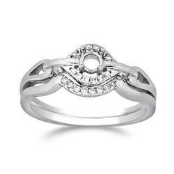 Natural 0.10 CTW Diamond Wedding Ring Set 14K White Gold - REF-35Y3N