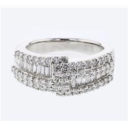 Natural 1.26 CTW Diamond & Baguette Ring 14K White Gold - REF-185X4T