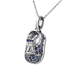 Natural 1.06 CTW Sapphire Necklace 14K White Gold - REF-68R4K