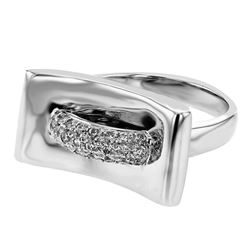Natural 0.42 CTW Diamond Ring 18K White Gold - REF-141Y3N