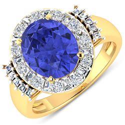 Natural 4.58 CTW Tanzanite & Diamond Ring 14K Yellow Gold - REF-156T2H
