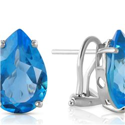 Genuine 10 ctw Blue Topaz Earrings 14KT White Gold - REF-50T7A