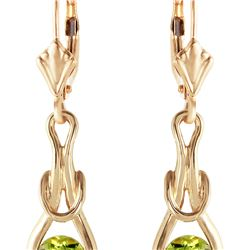 Genuine 1.30 ctw Peridot Earrings 14KT Yellow Gold - REF-49V3W