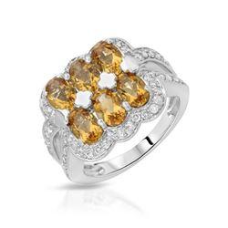 Natural 3.09 CTW Citrine & Diamond Ring 18K White Gold - REF-88M2F