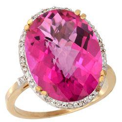 13.71 CTW Pink Topaz & Diamond Ring 14K Yellow Gold - REF-59X4M