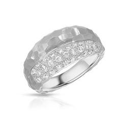 Natural 0.51 CTW Diamond Ring 18K White Gold - REF-114H3W