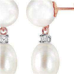 Genuine 10.10 ctw Pearl & Diamond Earrings 14KT Rose Gold - REF-24N4R