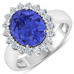 Natural 4.29 CTW Tanzanite & Diamond Ring 14K White Gold - REF-145X3K