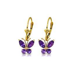 Genuine 1.24 ctw Amethyst Earrings 14KT Yellow Gold - REF-38A2K