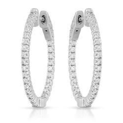 Natural 0.66 CTW Diamond Earrings 14K White Gold - REF-108F9M