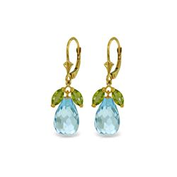 Genuine 14.4 ctw Blue Topaz & Peridot Earrings 14KT Yellow Gold - REF-46R7P