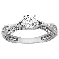 0.75 CTW Diamond Ring 14K White Gold - REF-169V3R