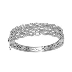 Natural 2.34 CTW Diamond Bangle 14K White Gold - REF-342T9X