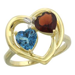 2.61 CTW Diamond, London Blue Topaz & Garnet Ring 14K Yellow Gold - REF-34W2F
