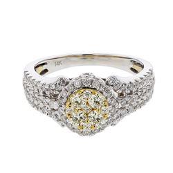 Natural 0.90 CTW Diamond & Yellow Round Diamond Ring 14K Two Tone Yellow Gold - REF-109T8X