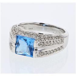 Natural 2.84 CTW Topaz & Diamond Ring 14K White Gold - REF-82T8X