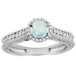 0.99 CTW Aquamarine & Diamond Ring 14K White Gold - REF-59X3M