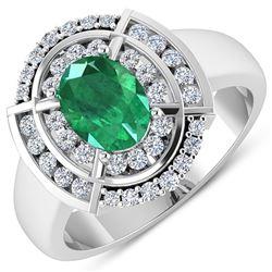 Natural 2.67 CTW Zambian Emerald & Diamond Ring 14K White Gold - REF-71K2W