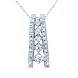 Natural 1.03 CTW Princess Diamond Necklace 14K Gold - REF-127N8Y