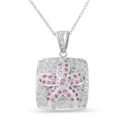 Natural 0.96 CTW Pink Sapphire & Diamond Necklace 14K White Gold - REF-100K8R